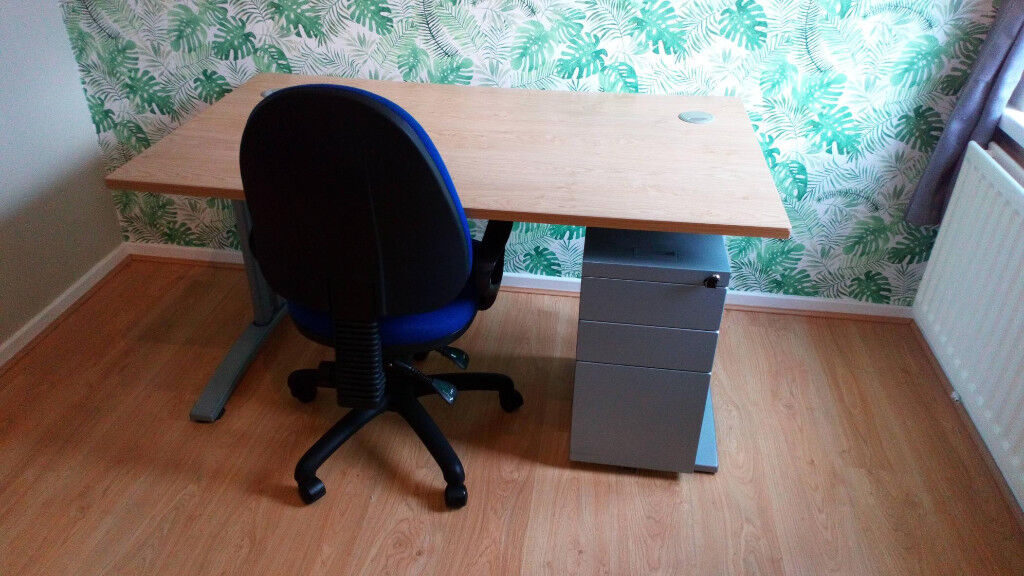 Sturdy Office Furniture, Desk, Computer Chair And Metal Lockable Draws.  Excellent Condition.