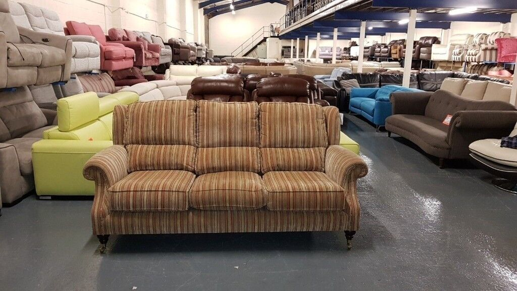 Ex Display Henley Designer Terracotta And Gold Striped Fabric 3 Seater Sofa