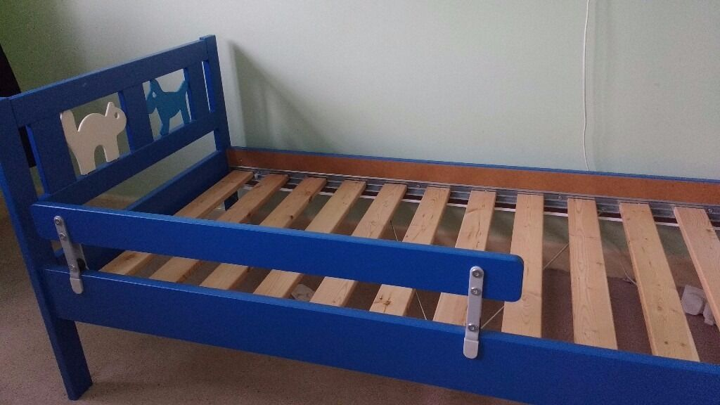 Childs Toddler Bed Ikea Kritter Frame Blue Mattress Available Ages With Rail