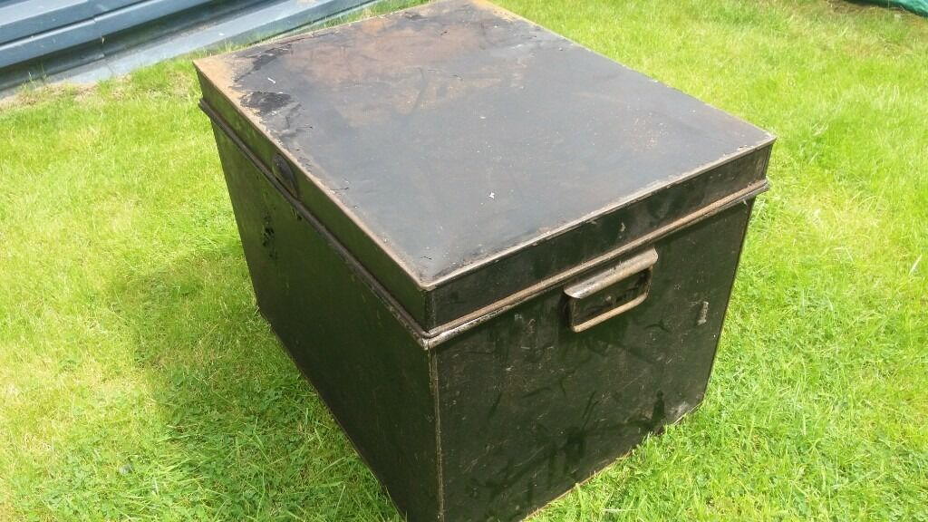 Vintage Large Industrial Metal Chest. Trunk Storage Box Shipping Luggage