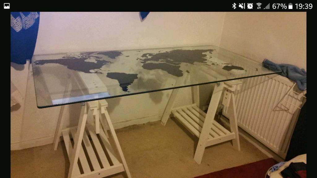 Ikea Glasholm/Torfinn Glass Table Top And White Trestle Legs