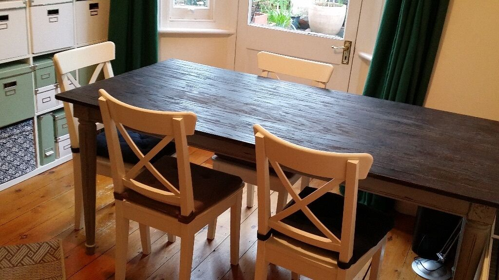 Wooden Table , Bourbon Vintage Dining Table , Distressed Grey , Ingolf  Chairs Separately , Delivery
