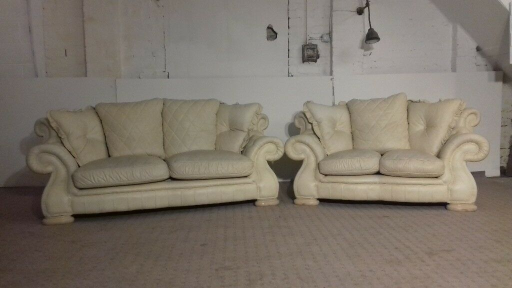 Charmant Pendragon Chesterfield 3 U0026 2 Seater Cream Leather Sofa   DELIVERY AVAILABLE