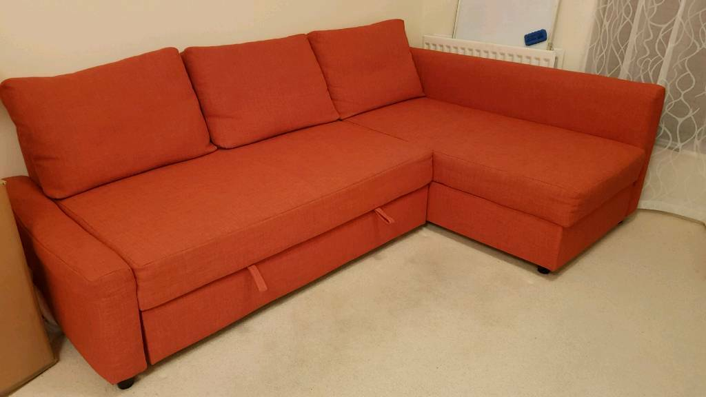 Genial Ikea Friheten: 3 Pillows Orange Sofa, Chaiselong, Double Bed And Storage  Space,