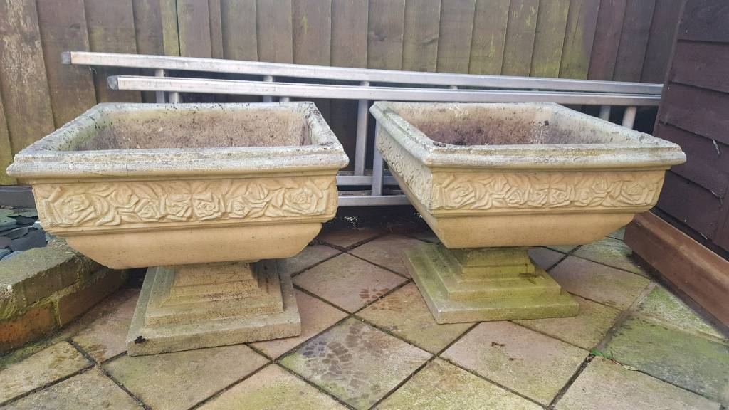 Two Large Stone Garden Planters