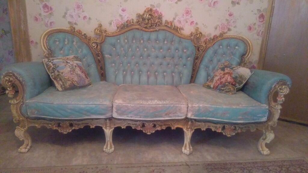Vintage Distressed Funky Sofa Set Distressed Shabby Chic!