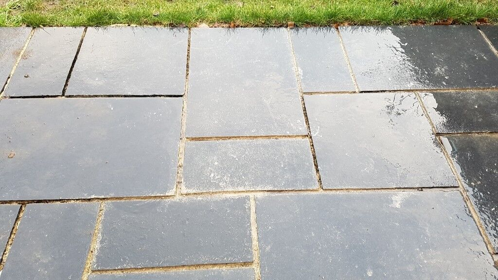 Dark Grey / Black Indian Limestone Patio Stones / Slabs. Four Different  Sizes