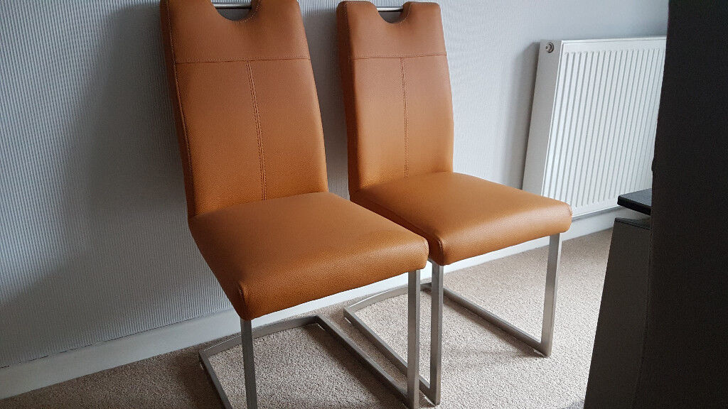 2 HABUFA PANAMA UPHOLSTERED DINING CHAIRS MUSTARD COLOUR Furniture Village