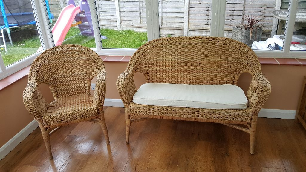 NOW SOLD   2 Seater And Single Seater Wicker Chairs