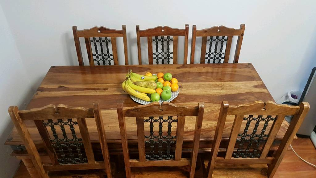 Indian Wood Dining Table And 6 Chairs.