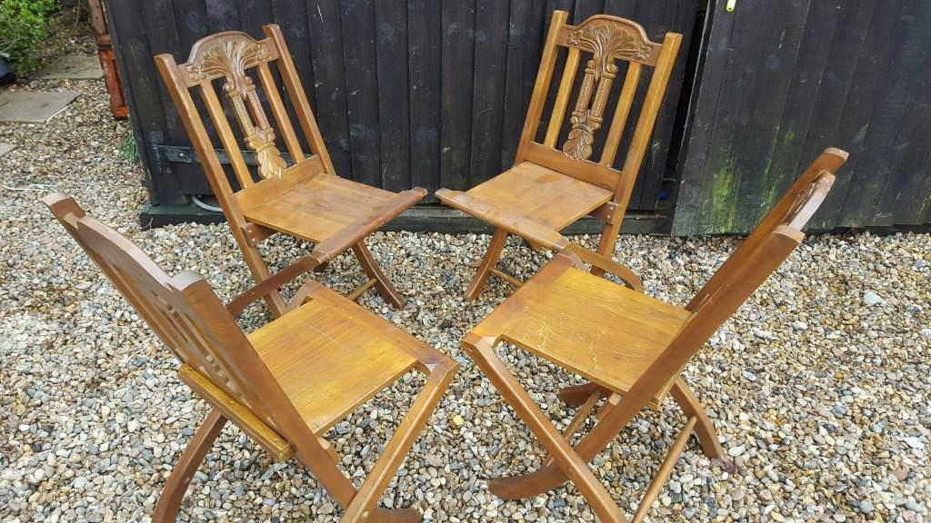 Decorative Oak Folding Chairs   Home Garden Resteraunt