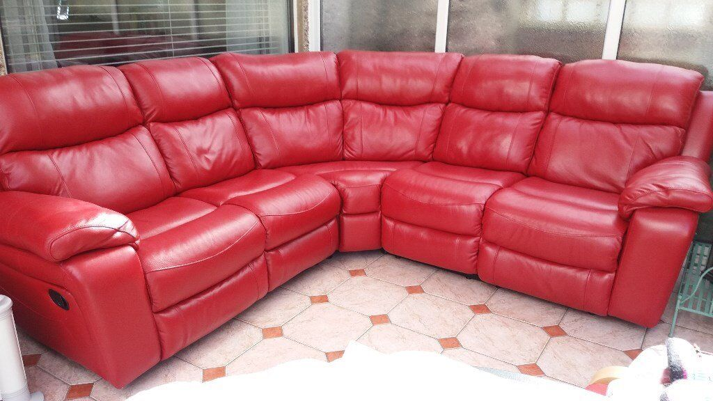 red leather corner sofa – Home and Textiles