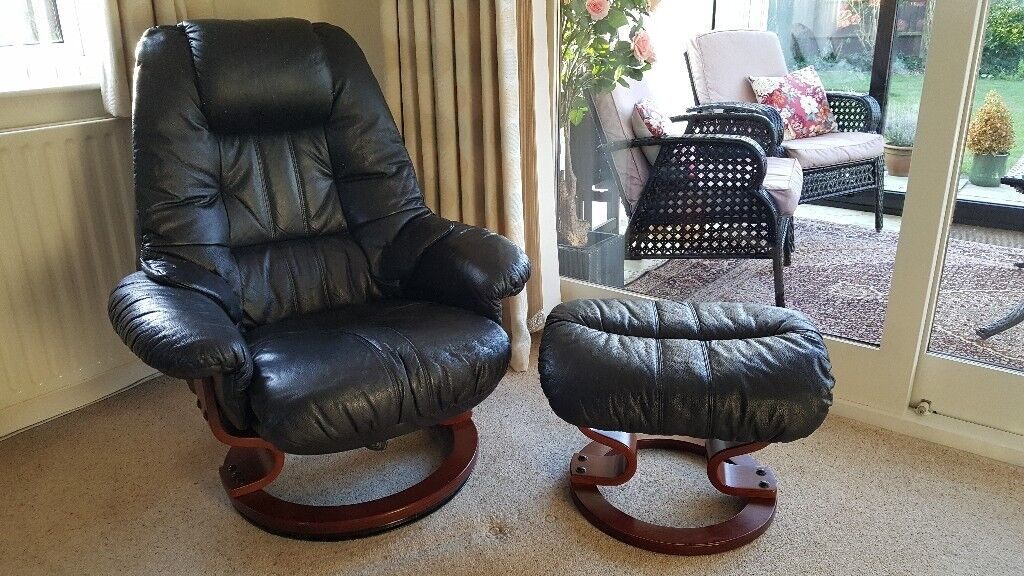Willy, Scandinavian Style Black Real Leather Recliner / Swivel Relaxer Chair  And Footstool