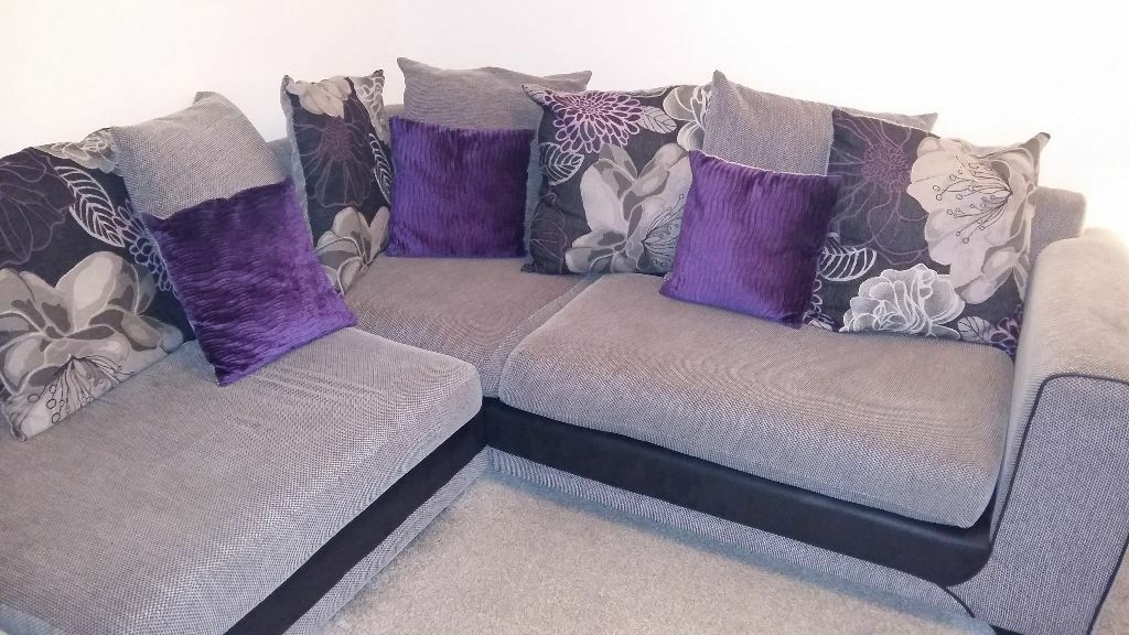 Superb Large SCS Grey, Purple And Black Corner Sofa With Foot Stool. Looking For  Quick