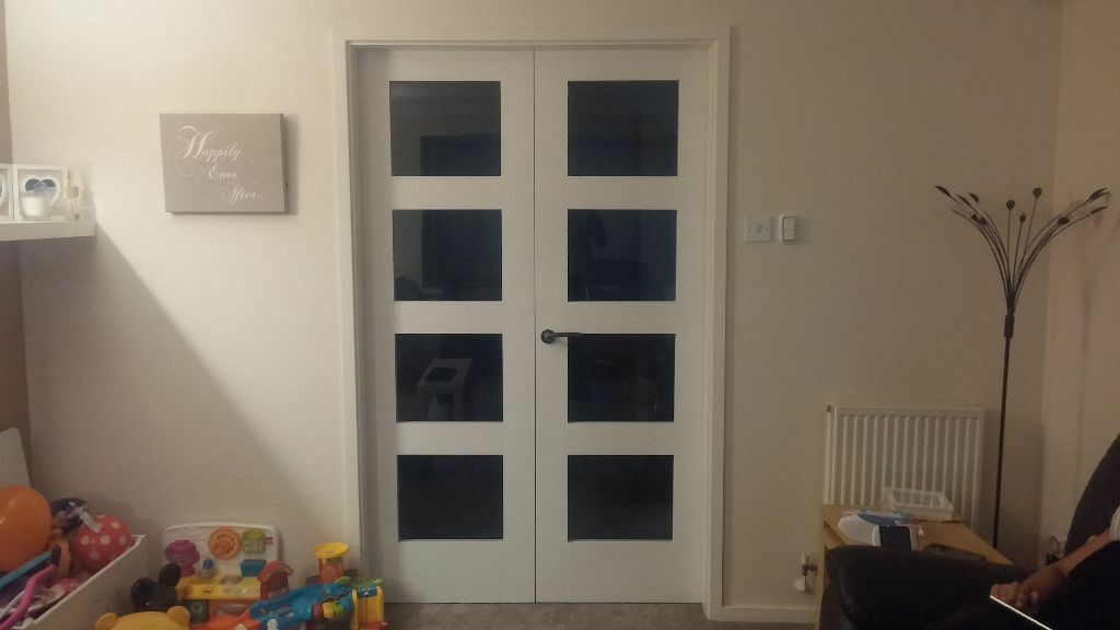 2x White 4 Panel Shaker Primed Smooth Wooden Glazed Clear Glass Internal  Doors 1981x610mm BRAND NEW