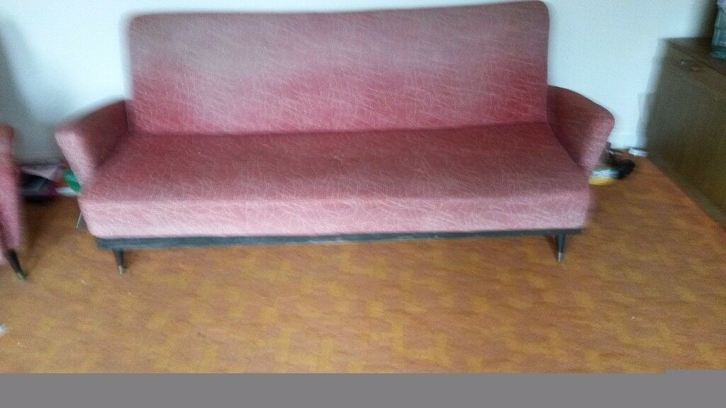 Retro Sofa /Bed Plus 2 Wing Back Arm Chairs 1950u0027s/1960u0027s Style