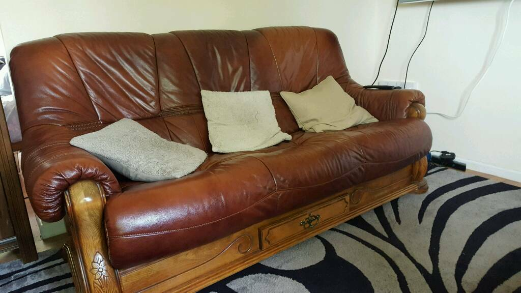 Nice Leather Sofa With Wooden Frame. From Scs
