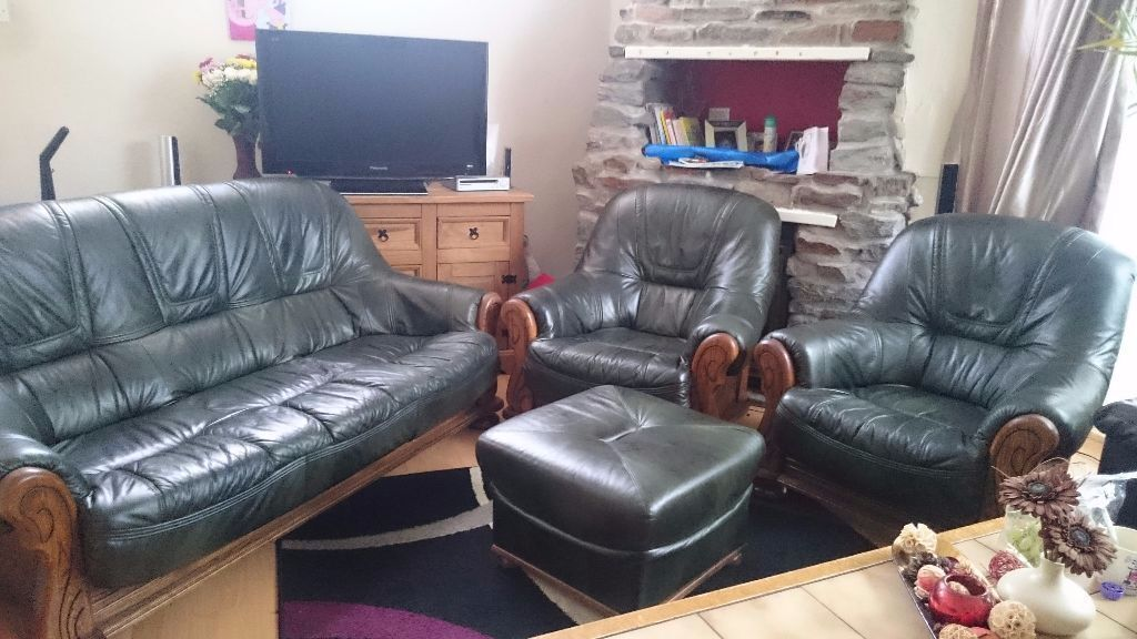 Oak Belgium 3 Seater Leather Sofa And Two Airmchair  Bargain,