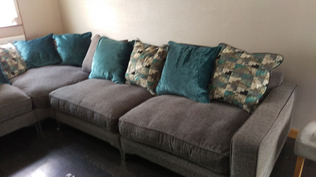 Extra Large Cushion Back Corner Sofa From The Pentagon Range From Sofology  In Grey And Teal