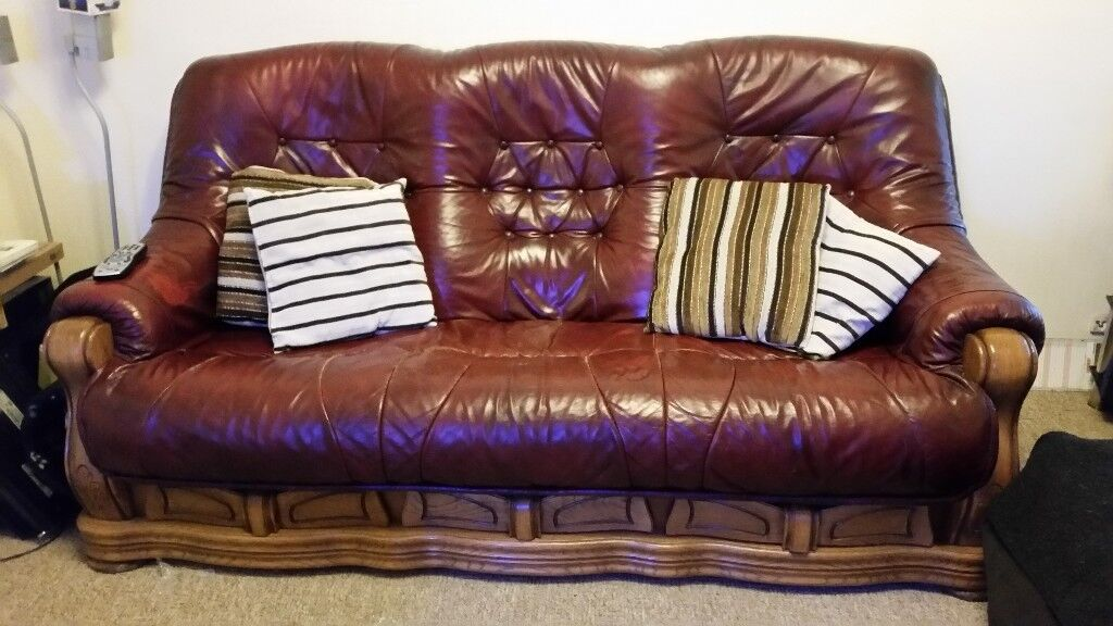 Beau Leather Sofa With Solid Wooden Frame