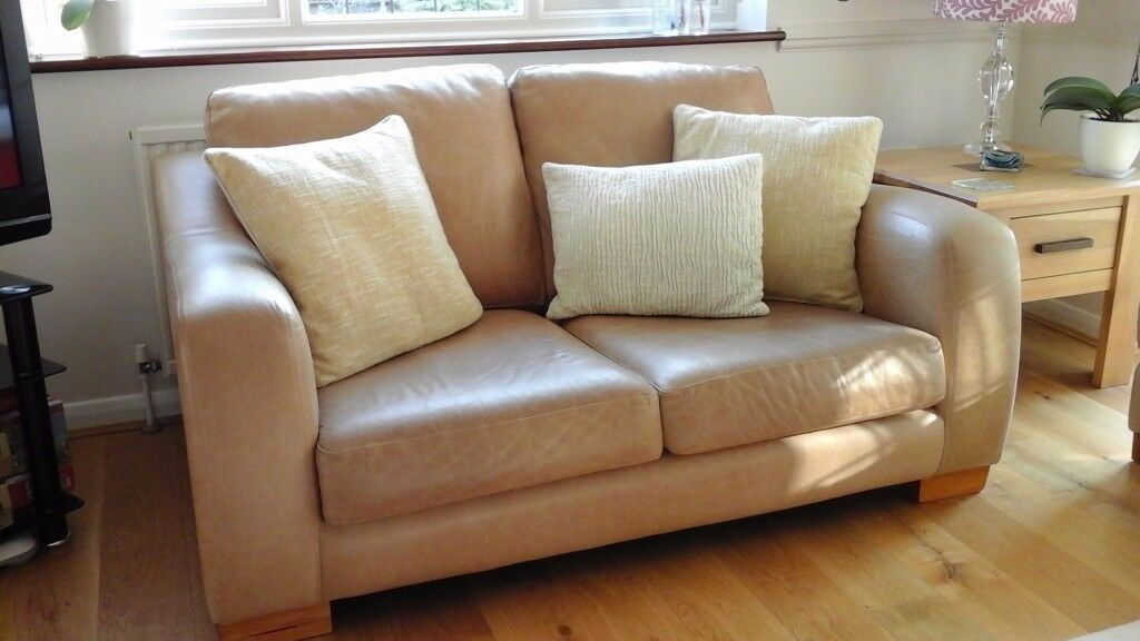 Exceptionnel Two Identical Tan Hide Leather Sofas. Modern Cotemporary Design In Hard  Wearing Leather.