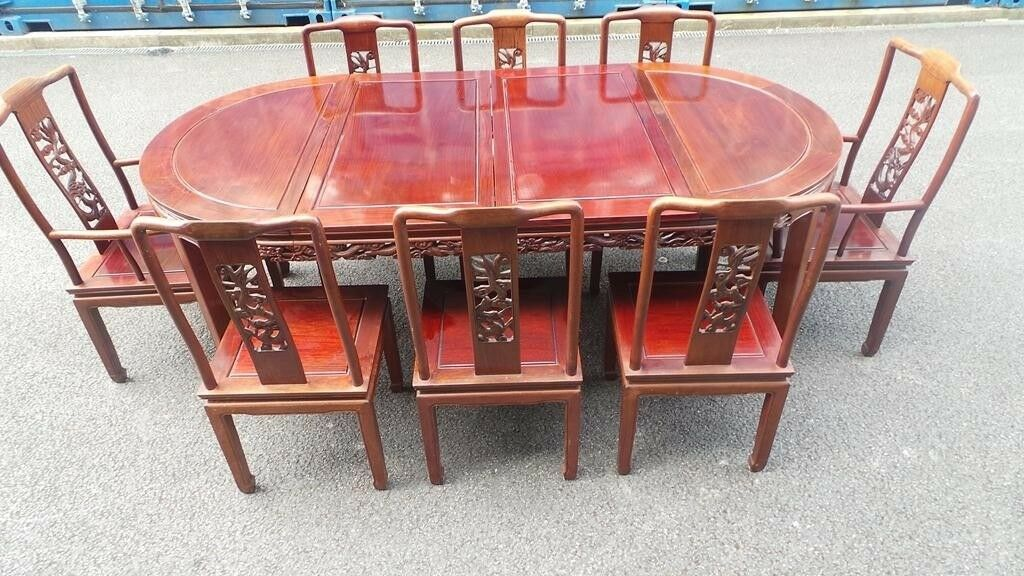 Chinese Dining Set   Table 8 Chairs Sideboard Asian Rosewood Delivery  Available