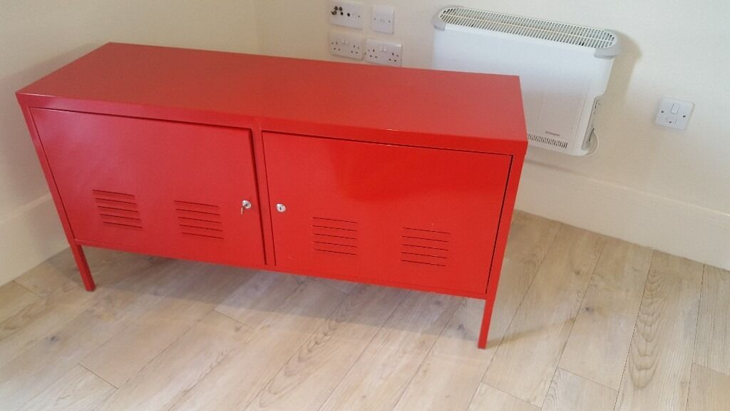 Red Ikea PS Metal Cabinet/tv Stand