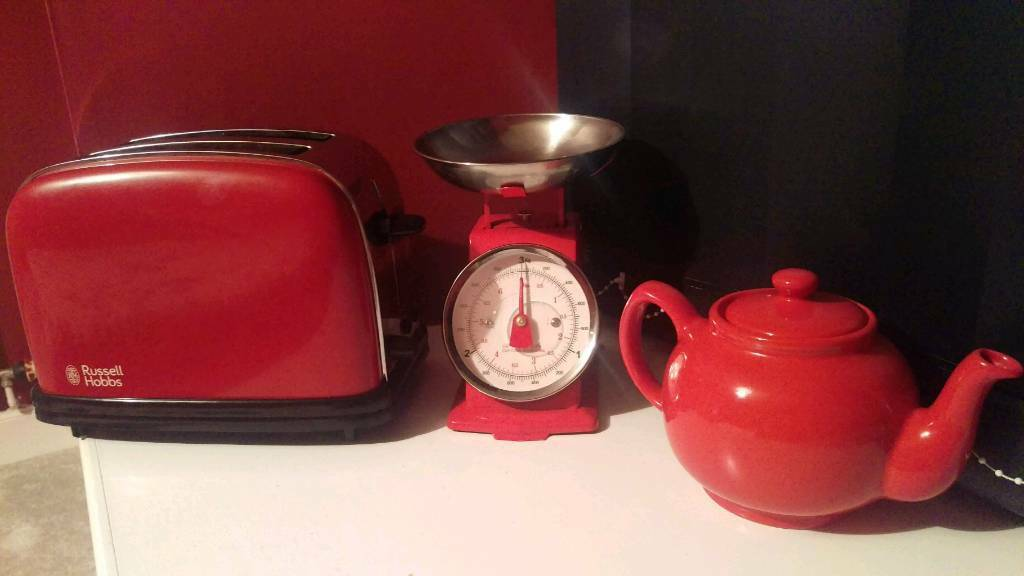 Red Kitchen Appliances Set / Toaster, Scales, Teapot