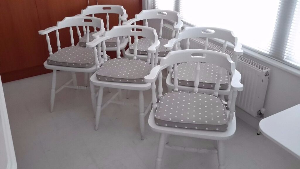Charmant 6 White Painted Captains Chairs