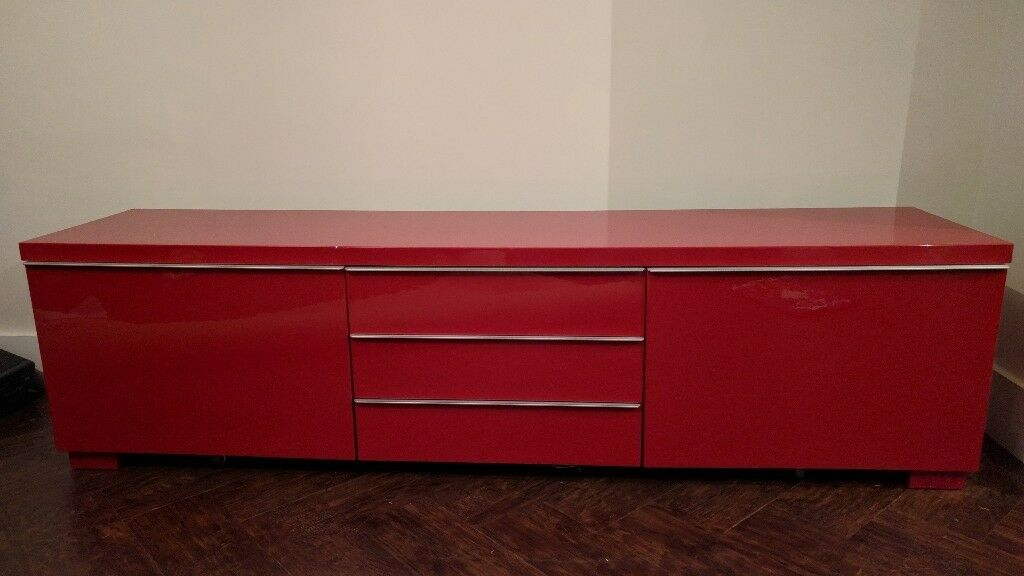 IKEA Red High Gloss TV Cabinet, Wall Unit And Glass Top