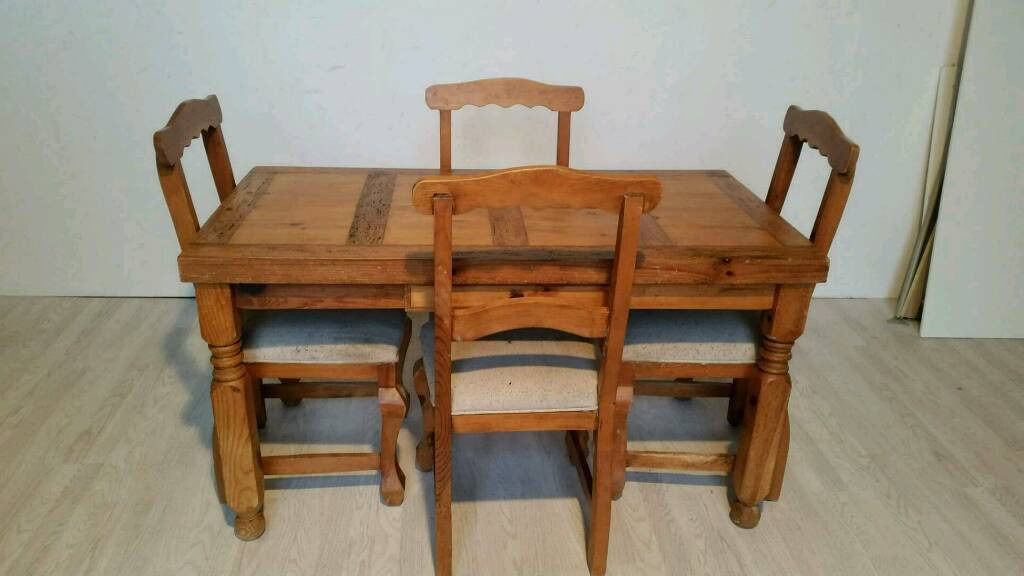 Unique Rustic Pine Wormwood Dining Table and  Chairs  in Dundee