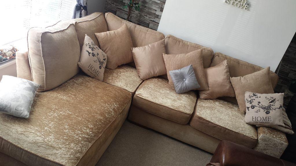 Bon Scs Gold Cream Chennile Crushed Velvet Corner Sofa In Bi