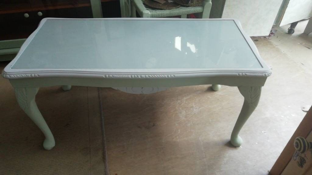 Wooden Coffee Table Olive Green And Grey Painted And Waxed, Glass Top,  Great Condition Can Deliver