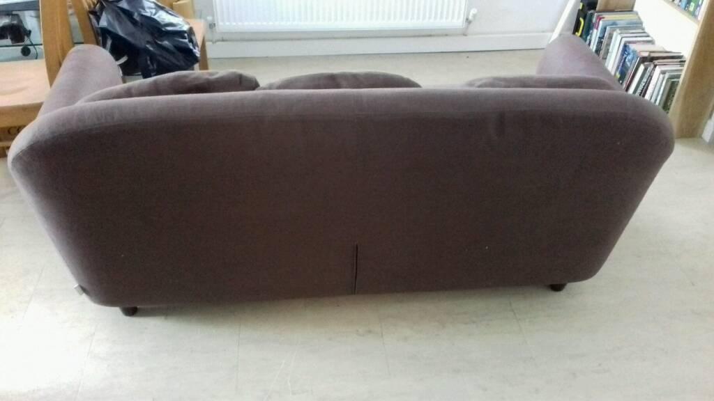 Habitat Emlyn 3 Seater Sofa Brown Linen Like Fabric Good Condition £200  Ono. Image 1 Of 6