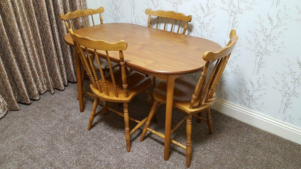 Wooden Dining Table And 4 Chairs And Seat Pads