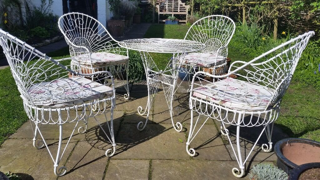 Wrought Iron Garden Table And Chairs Part - 36: Refurbished, Vintage White Wrought Iron Garden Furniture Set, 4 Chairs And  A Table.
