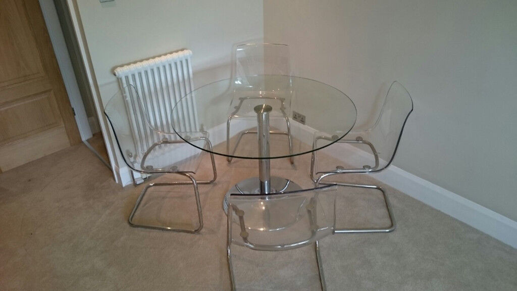 Ikea 4 Tobias Transparent Clear Chairs U0026 Glass Table