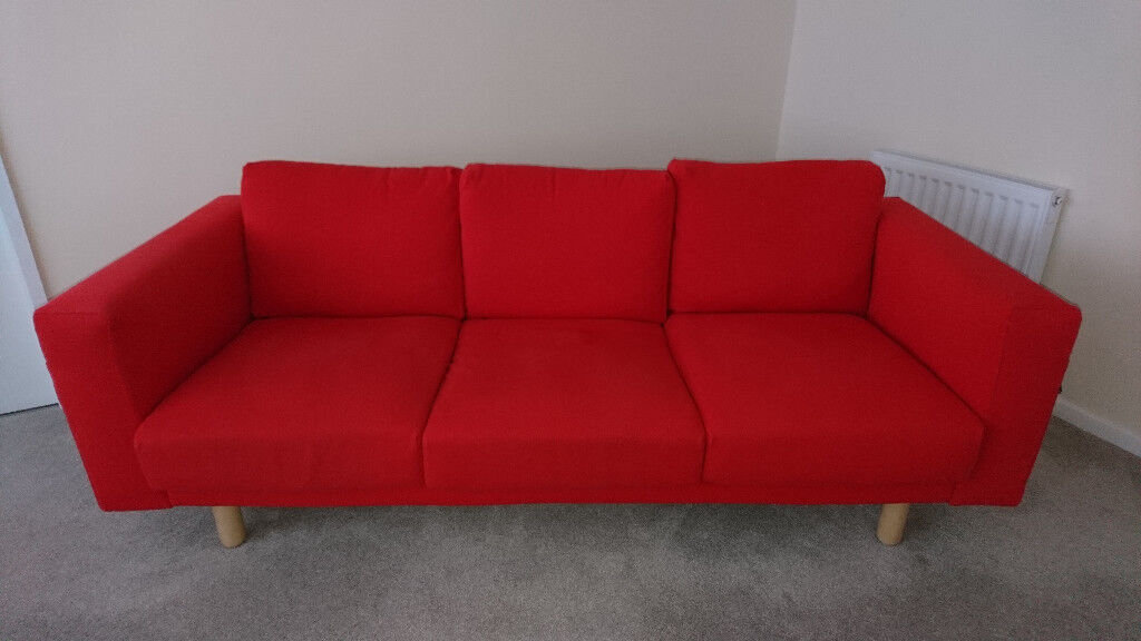 Ikea NORSBORG 3 Seat Sofa In Red, Excellent Condition