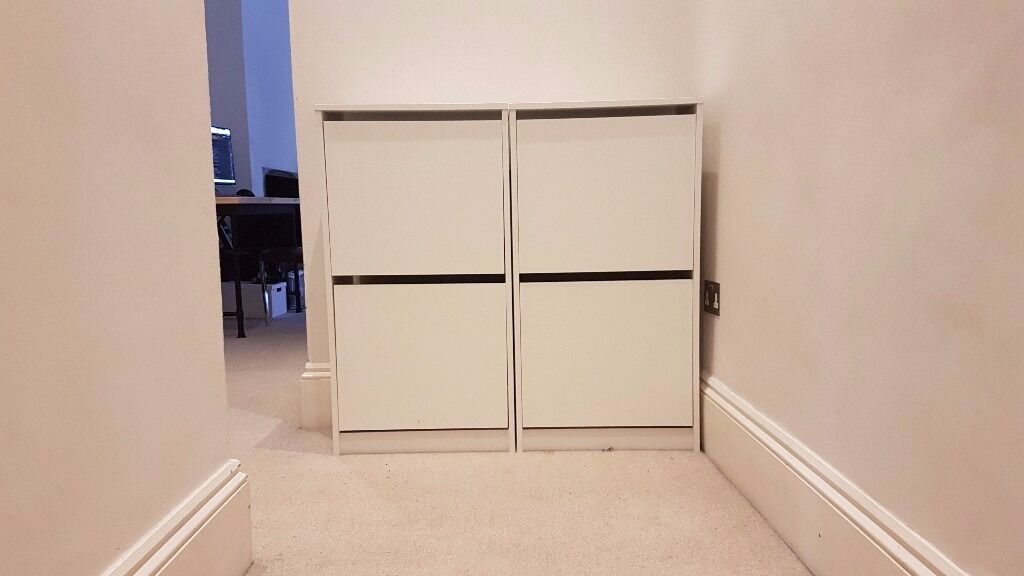 Exceptional 2x BISSA Shoe Cabinet From IKEA (white, Two Units Tall)