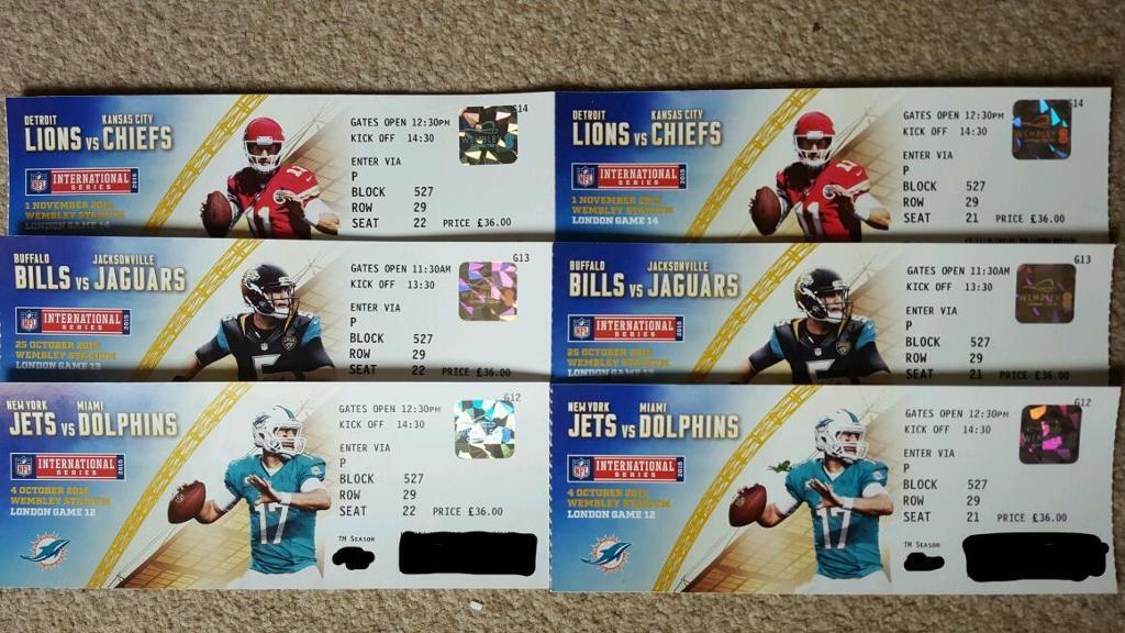 2 X NFL International Series Season Tickets @ Wembley. Excellent 1/2 Way  Line