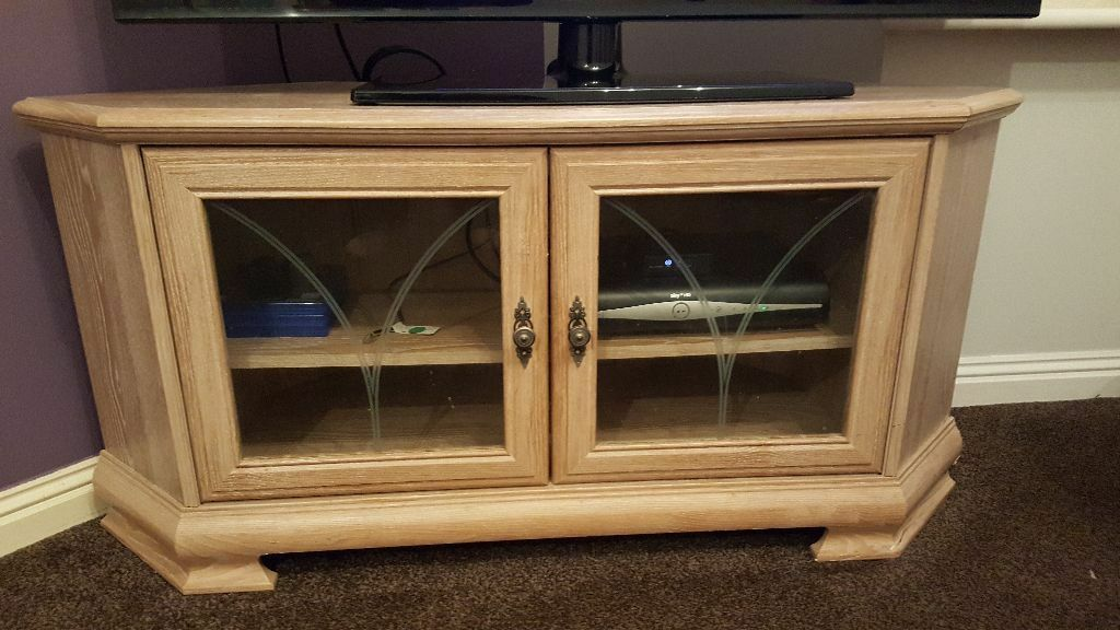 Limed Oak Corner Tv Unit And Hi Fi Cabinet