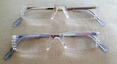 2.50 Readers - ! SALE MADE WITH SWAROVSKI CLEAR  CRYSTALS READERS READING GLASSES- SILVER  2.50