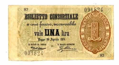 Italy … P-2 … 1 Lira … 1874 ... * VF *