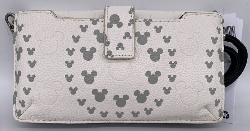 Disney Parks Mickey Mouse Icon Geometric Crossbody Wallet Wristlet White Grey