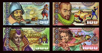 SET Netherlands Ceylon, 50;100;500;1000 Gulden, 2016, Private Issue POLYMER, UNC