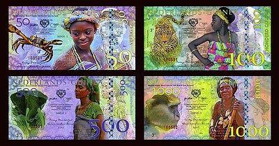 SET Netherlands Guinea (Ghana) 50;100;500;1000 Gulden 2016 POLYMER, UNC