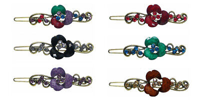 6 Pack 6 Count Flower Barrettes  Snap-on Hair Clip for Thin
