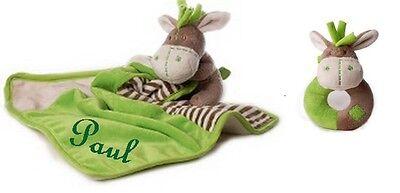 Baby Schmusetuch Esel mit Namen bestickt + Rassel Kuscheltuch Geburt Taufe