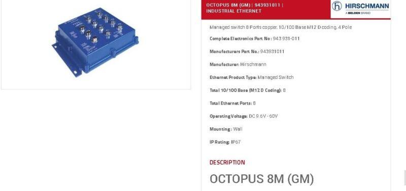 HIRSCHMANN OCTOPUS 8M MANAGED IP67 ETHERNET SWITCH