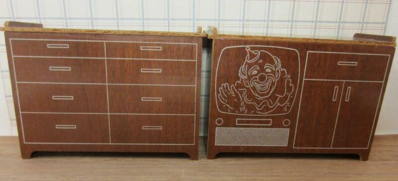 *Vintage Retro Doll Size Furniture TV Set, Chest  Fits  Ginny, Cissette, Barbie